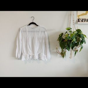 White Linen Zara blouse with high lace neck